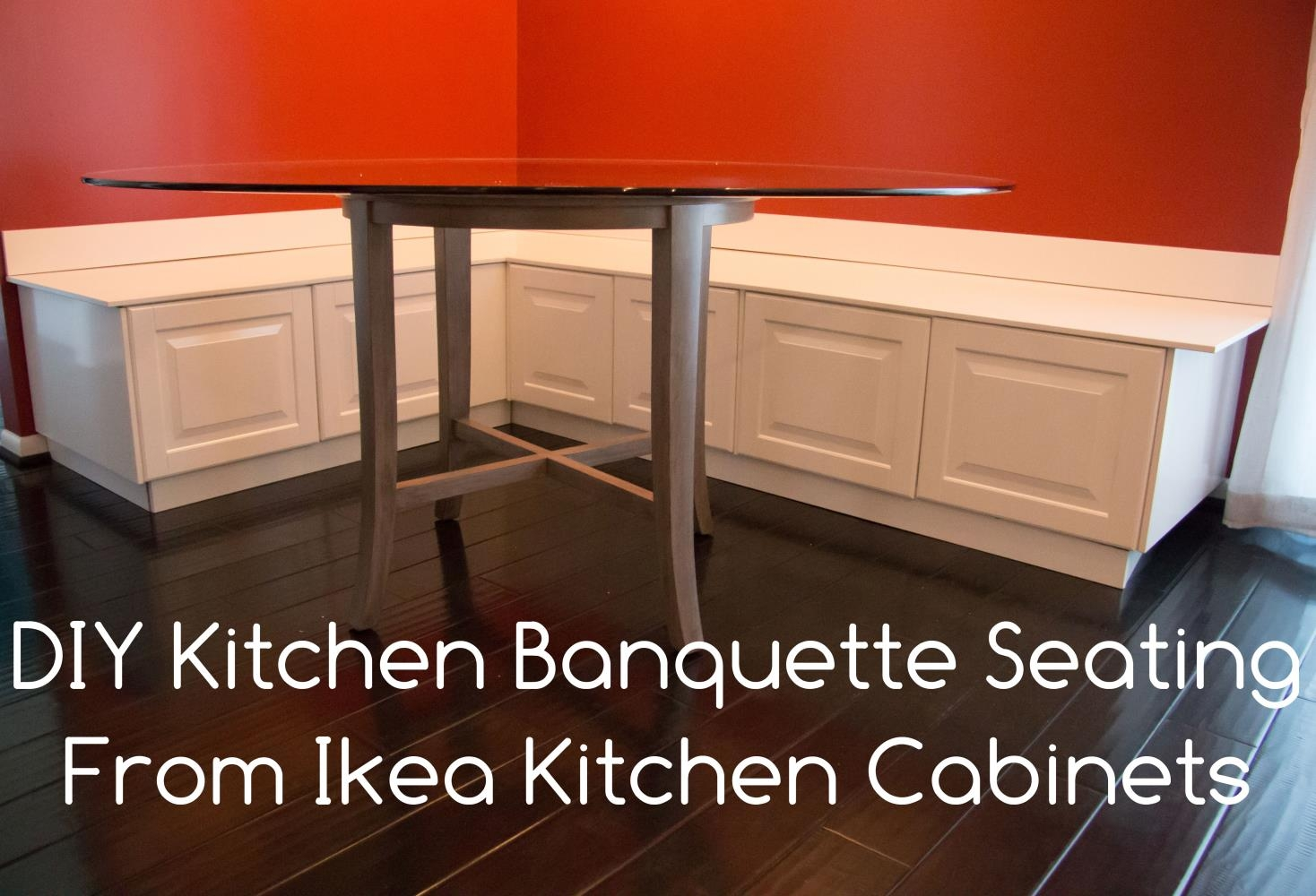 DIY Kitchen Seating Banquette Bench from Ikea Cabinets