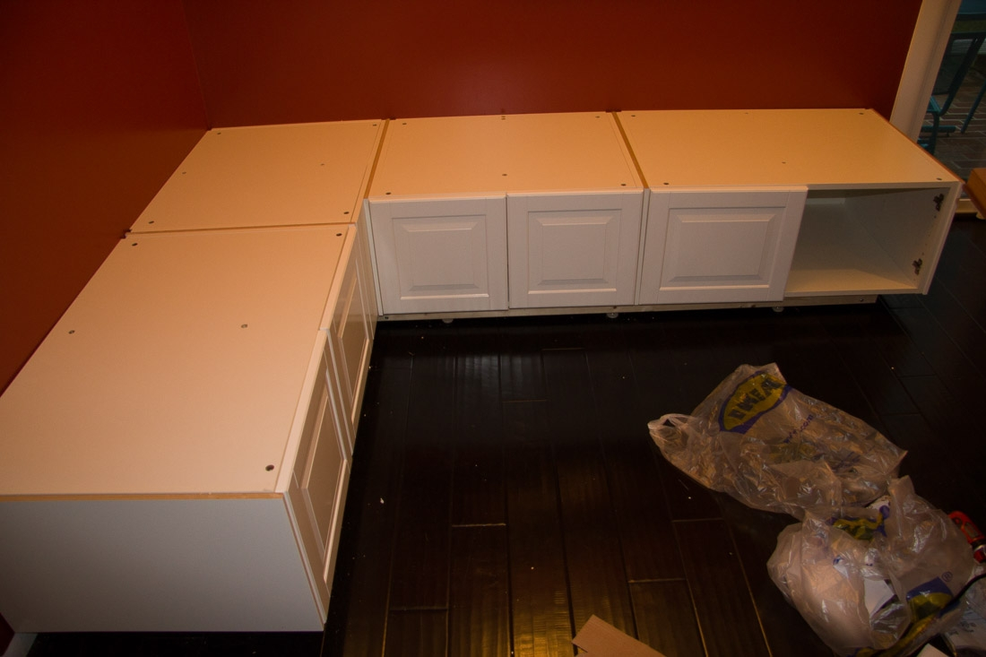 Part 4 of a tutorial on building diy kitchen banquette seating for Ikea kitchen banquette