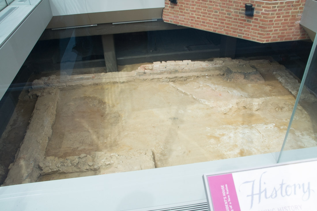"""Excavations near Liberty Bell Center of the original """"White House"""""""