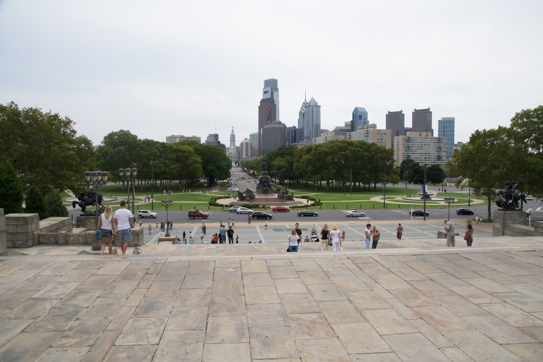 "View of Philadelphia from atop the ""Rocky Steps"" at the Philadelphia Museum of Art"