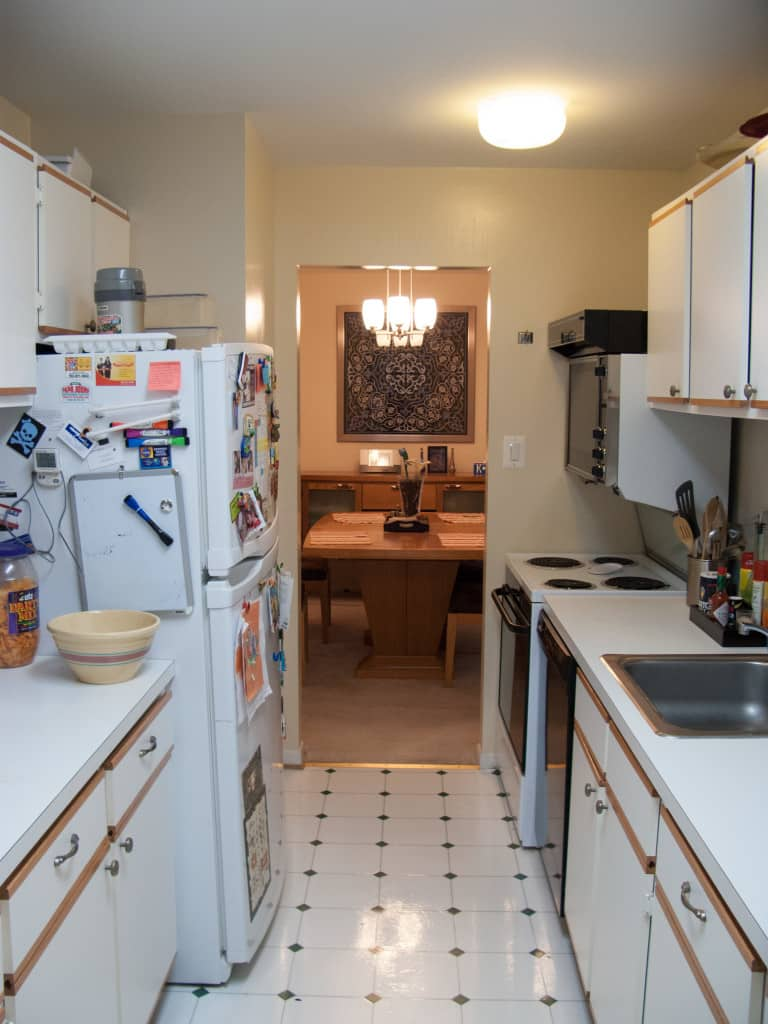 View of the kitchen before