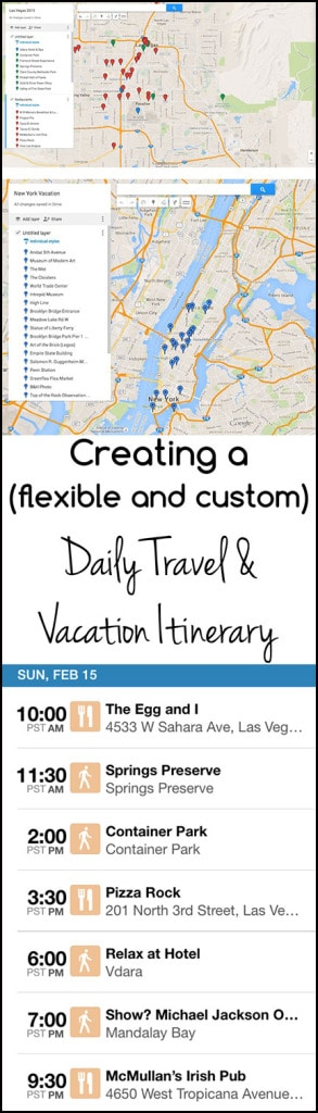Creating a Daily Travel Itinerary for your Vacation. Use your vacation time efficiently! Plan a customizable (and flexible) daily itinerary for your trip!