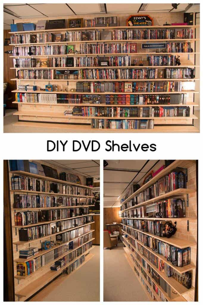 Wall Mounted DIY DVD Shelves for a Large Collection