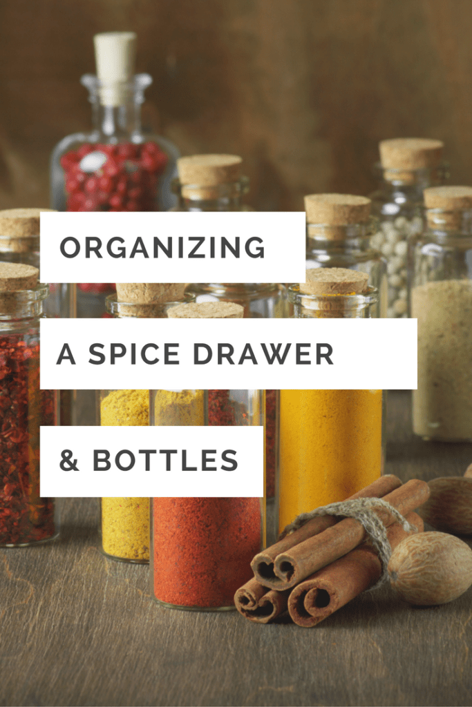 Organizing spice drawer and spice bottles