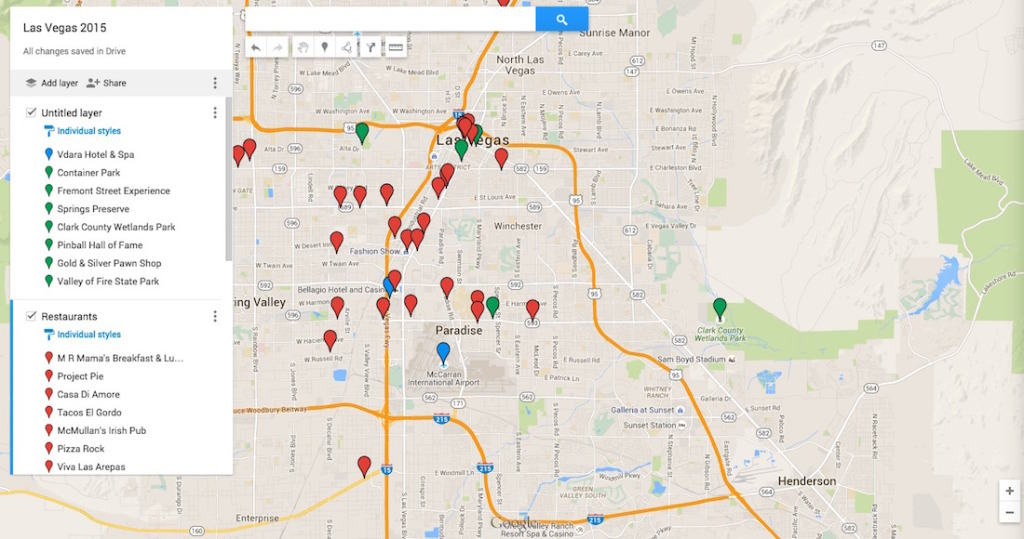 Sample travel map for Las Vegas vacation