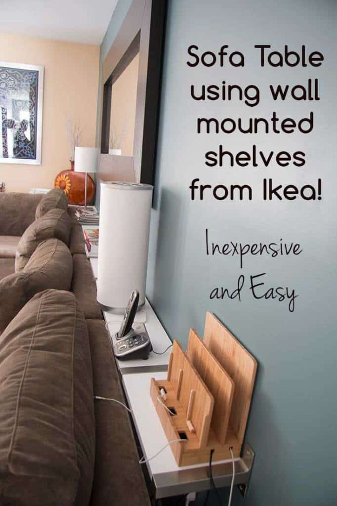 Sofa table or console table using Ikea Ekby Jarpen Wall Mounted Shelves. Great for custom sizes (like behind a sectional sofa) | SuperNoVAwife