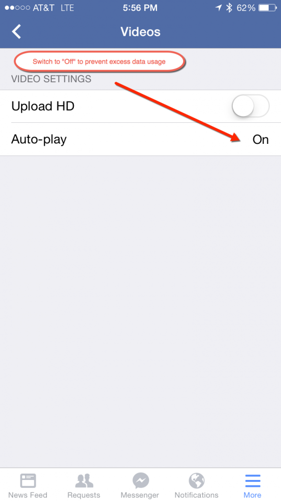 disable facebook auto play for videos - save data when using phone abroad