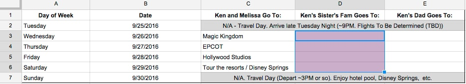 group vacation planning spreadsheet